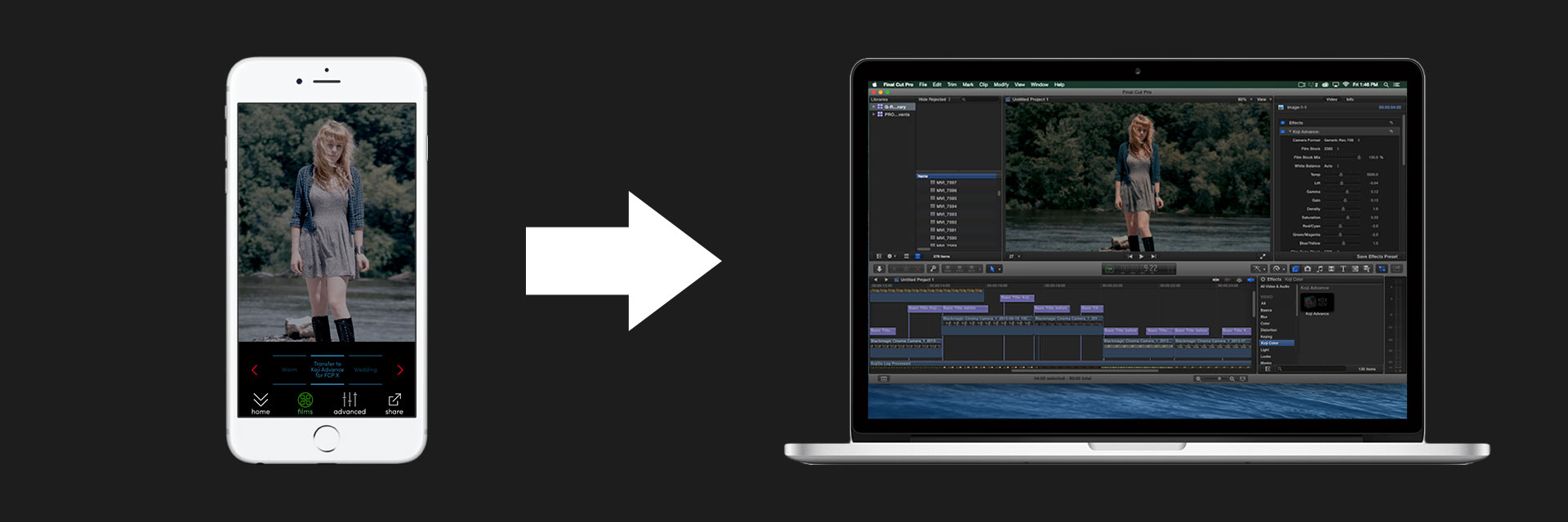 Koji Go from iphone to FCPX